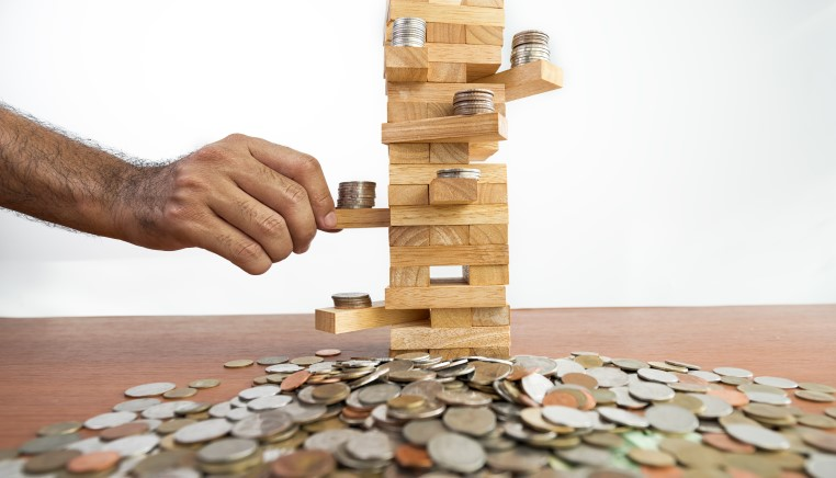 jenga tower coins
